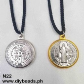 N22 Black Cord Necklace w/ St. Benedict