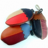 Egg Plant Shaped Leather Coin Purse ( 7 x 12 cm )